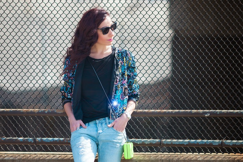Atlanta fashion blogger, Teodora Nicolae, in a vintage sequin jacket and Quay sunglasses