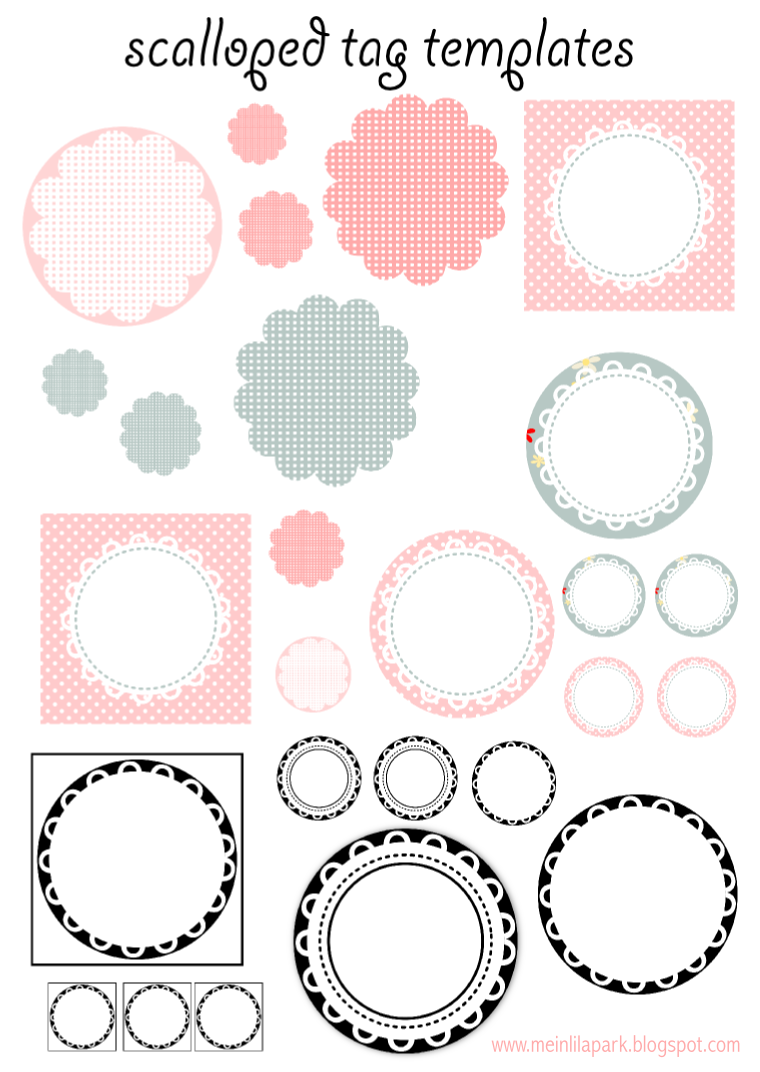 free printable scalloped tag templates - muschelrand etiketten