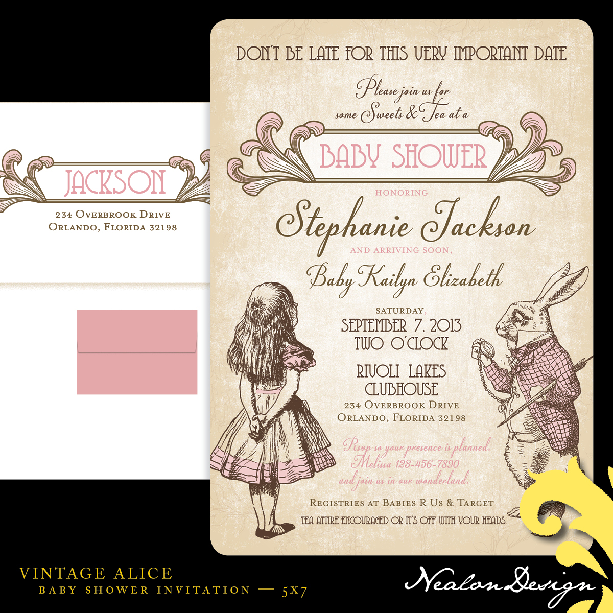 Nealon Design: VINTAGE ALICE — Baby Shower Invitation