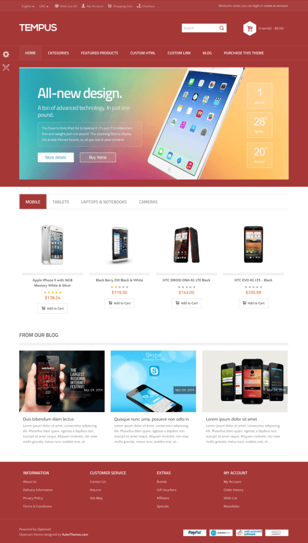 Tempus – A stylish responsive OpenCart template