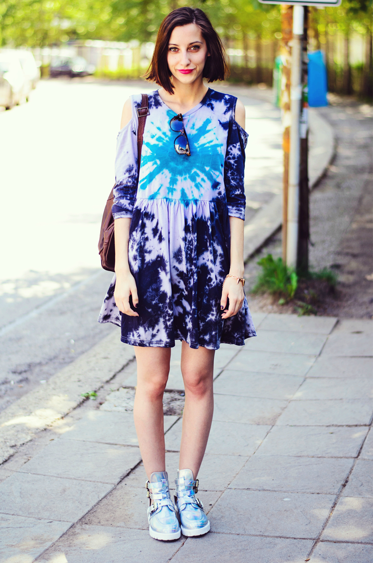 Tie Dye Dress and Hologram Cut out Boots