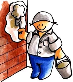 Dibujo de un albañil tarrajeando una pared