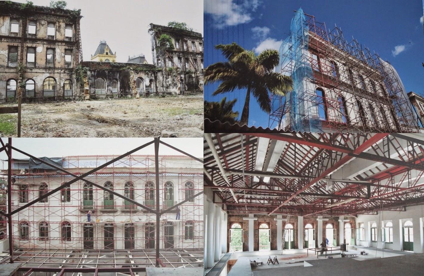 fotos das obras de restauração do edifício onde está o Museu Pelé - Santos / SP