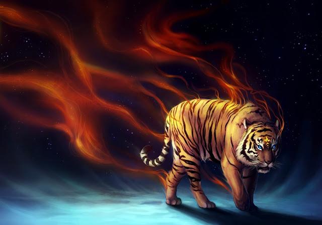 Tigre saindo do fogo