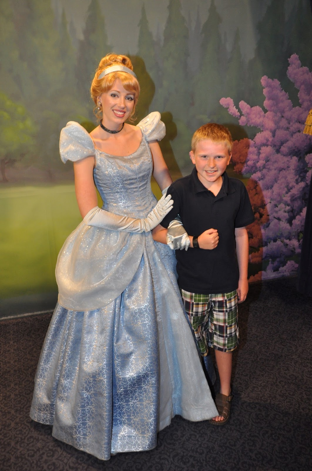 Williams family 10 out of 11 disney princesses cinderella and rapunzel were also in the magic kingdom at town square theater on main street usa note the princess meet and greet location in magic m4hsunfo