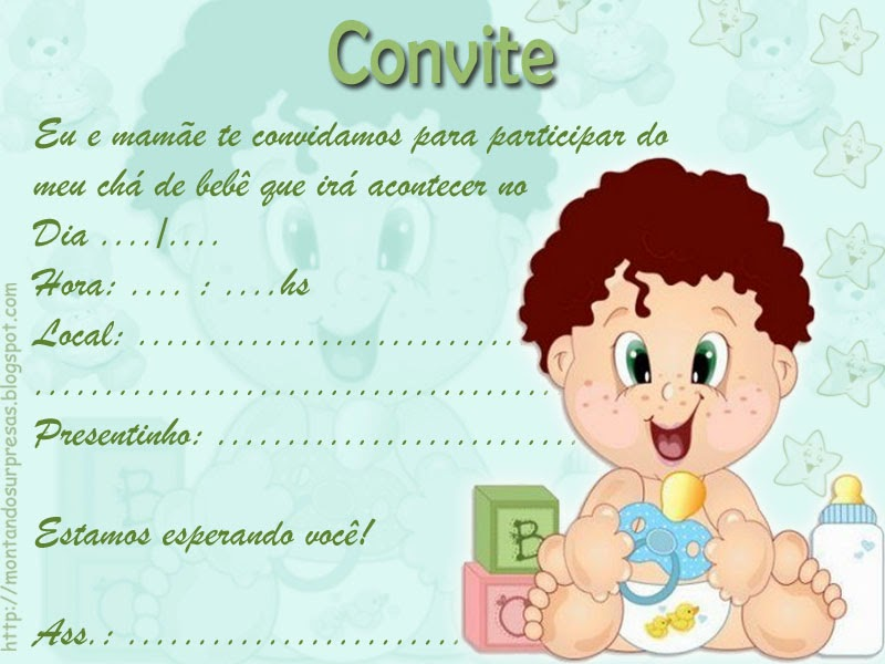 convite para chá de bebê online 1