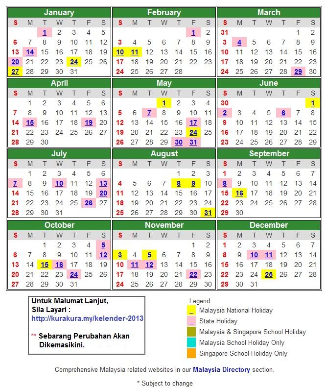 2013 Calendar with Federal Holidays