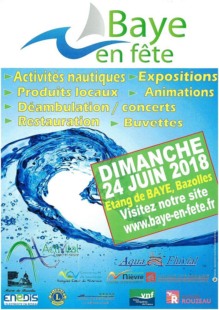 Baye en fête dimanche 24 juin étang de Baye Bazolles
