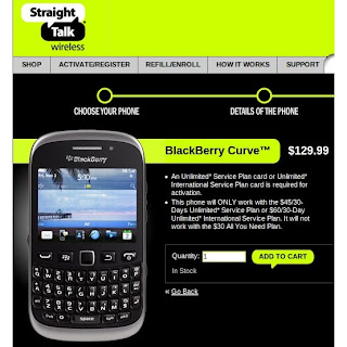 Straight Talk Web site. As expected, it's the BlackBerry Curve 9310