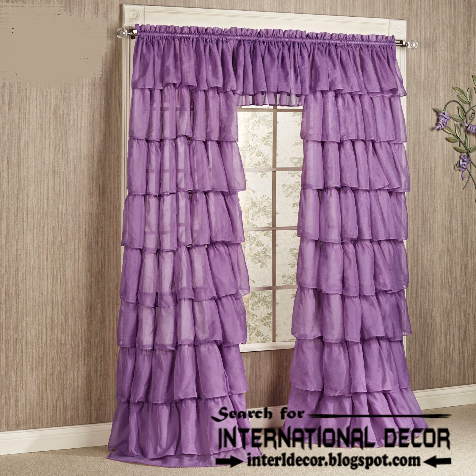 Ruffle Purple Curtains For Windows: