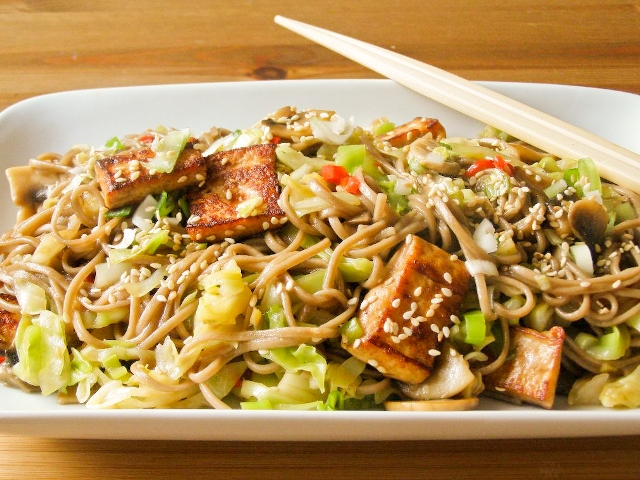 Pointed Cabbage and Soba Noodle Stir Fry with Pan Fried Tofu