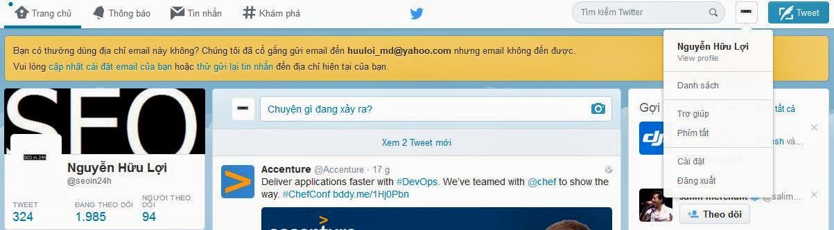 Hướng dẫn hủy liên kết tài khoản twitter với yahoo email