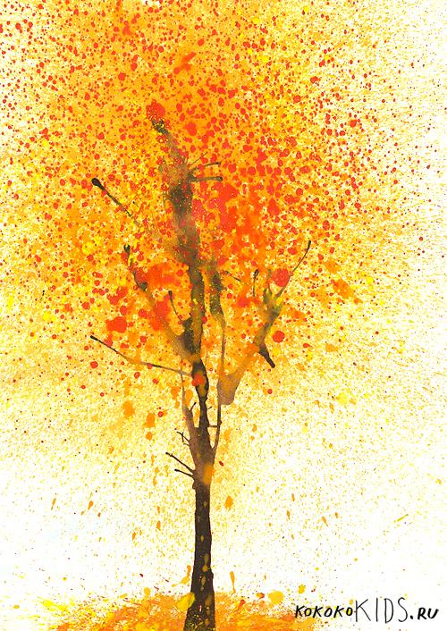 Картинки осени нарисовать гуашью