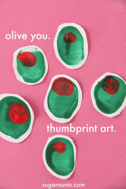 Olive you thumbprint art for kids.  This is so cute for a homemade Valentines Day card!
