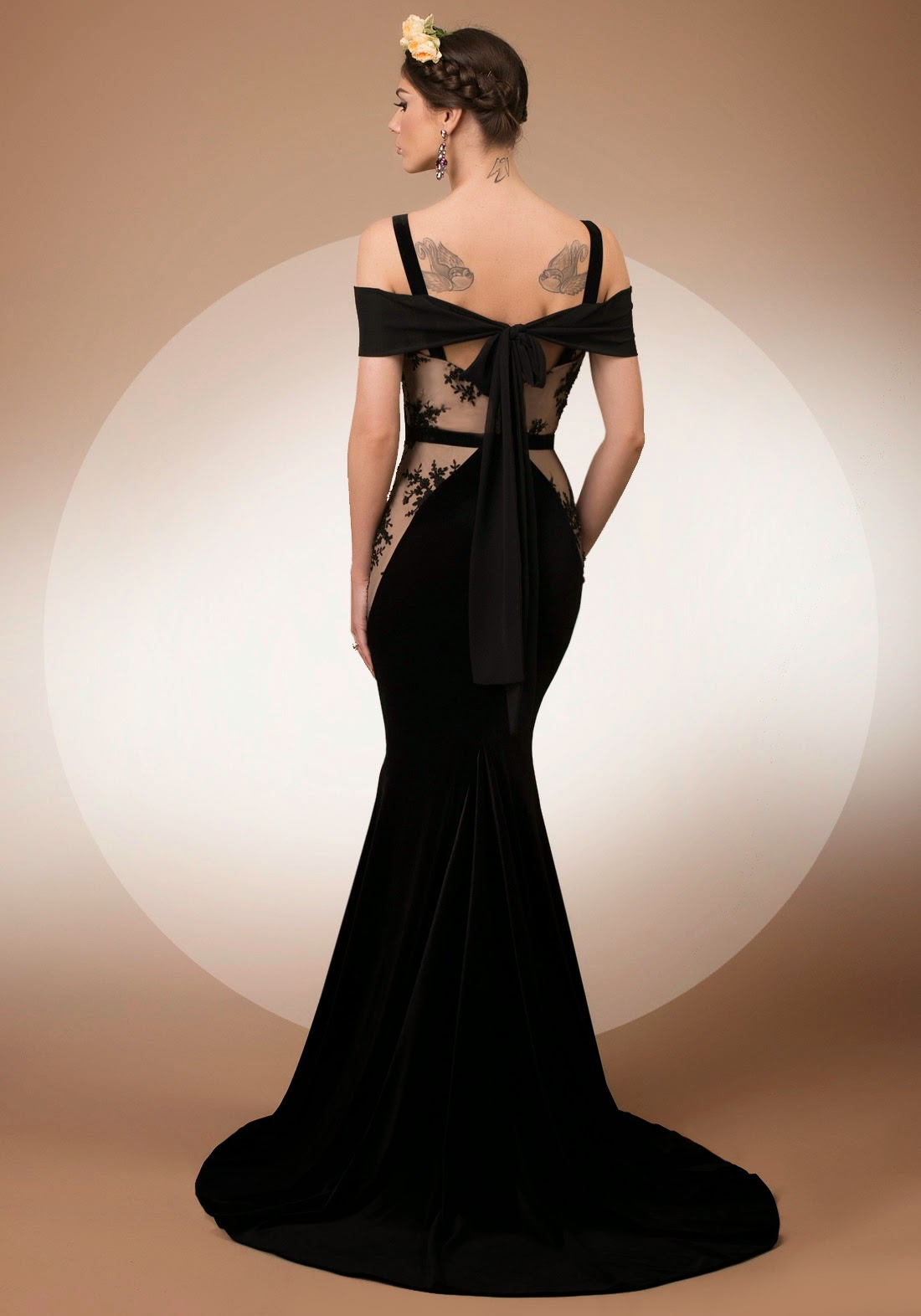 My Secret Dream, mermaid velvet, lace and veil evening dress with bow detail, Bien Savvy My Secret collection