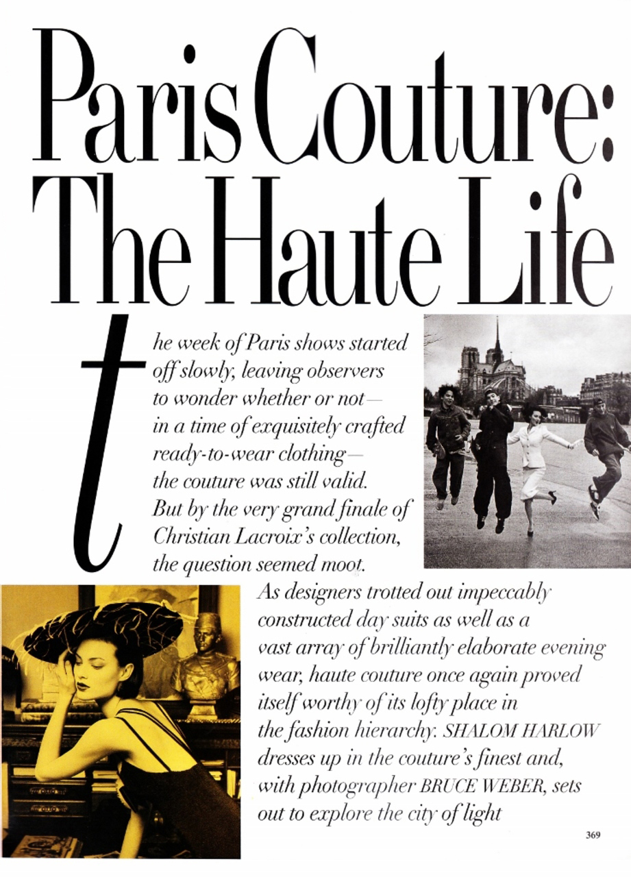 Shalom Harlow in Paris Couture: The Haute Life / Vogue US March 1995 (photography: Bruce Weber, styling: Grace Coddington) via fashioned by love british fashion blog