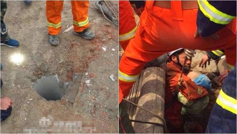bocah jatuh di lubang sempit