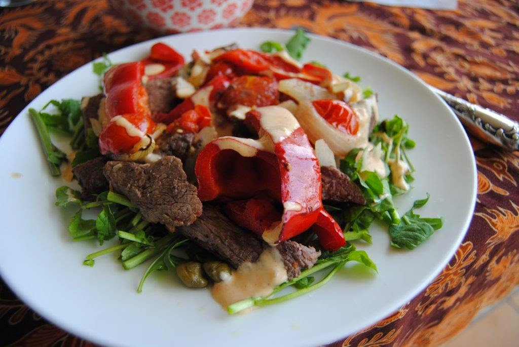 beef+capsicums+cherry tomatoes