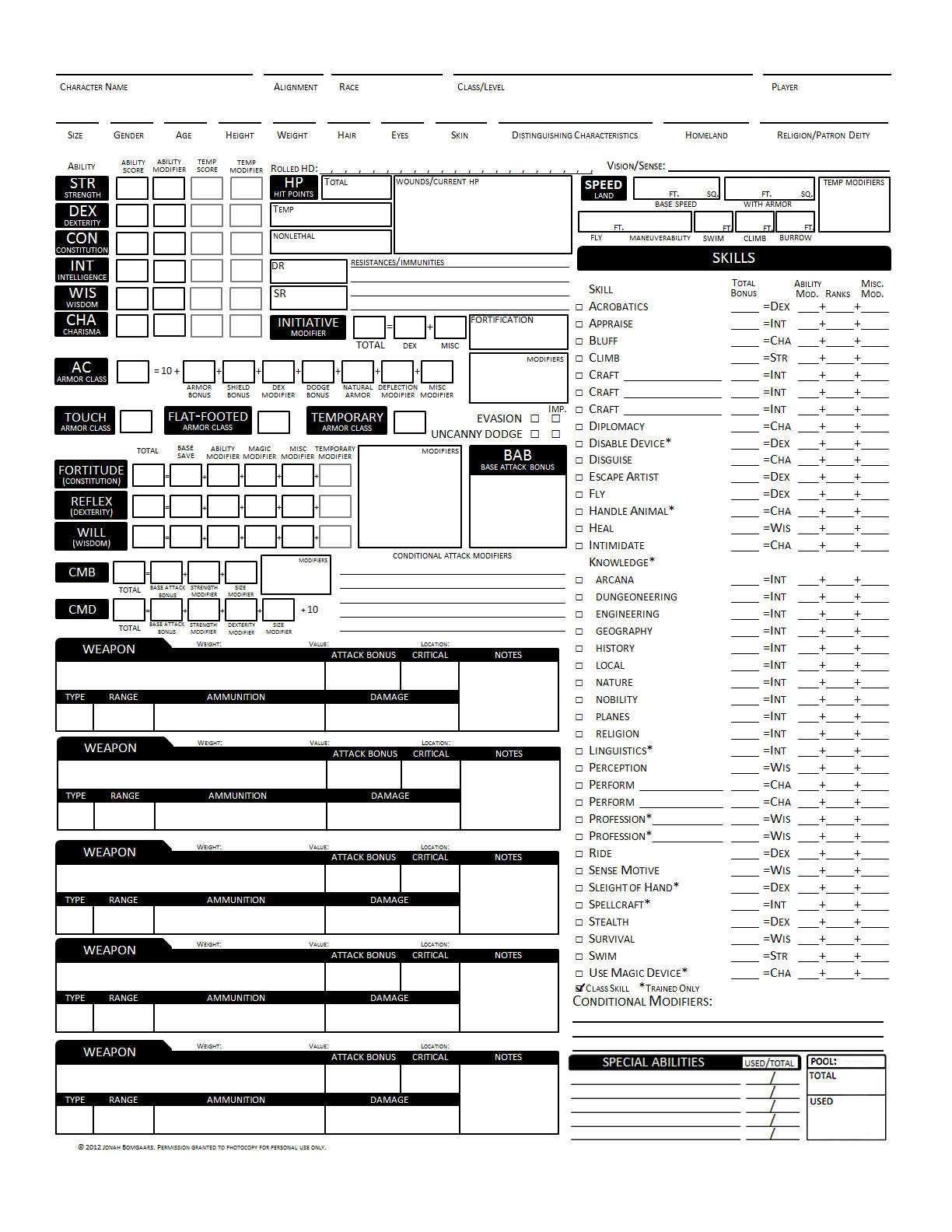 photo regarding Pathfinder Character Sheet Printable referred to as d20 Despot: Greater Identity Sheet v2.0
