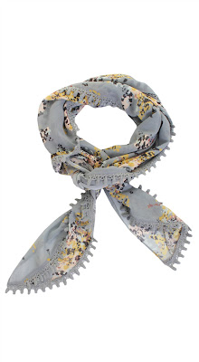 Darling Shadow Grey Floral Print Trudy Scarf