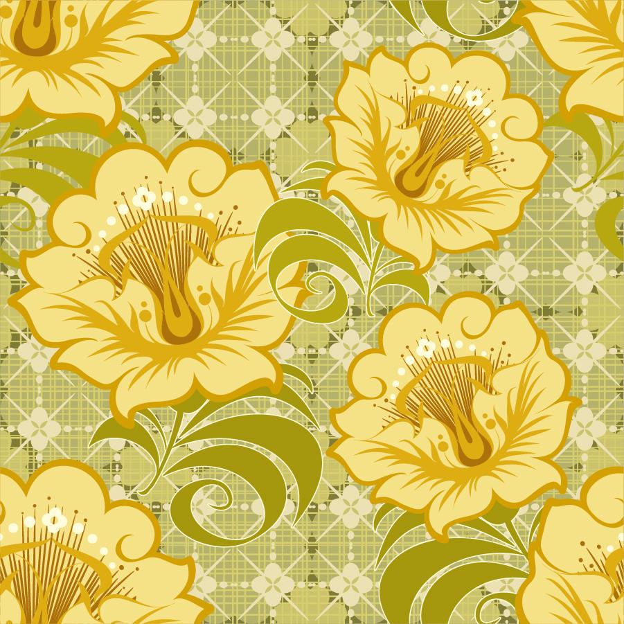 大輪の花ビラが美しい背景 Floral Seamless Vector Background イラスト素材