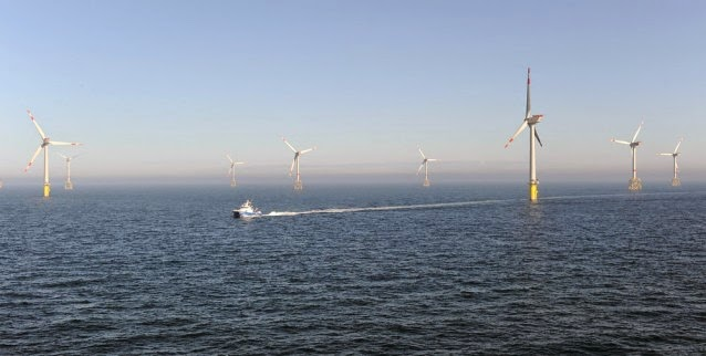 Offshore wind farm (Credit: AP Photo/Ingo Wagner, Pool) Click to enlarge.