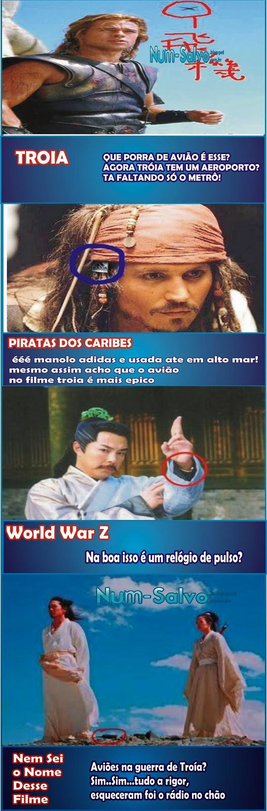 Os piores erros nos filmes antigos , troia , piratas do caribe