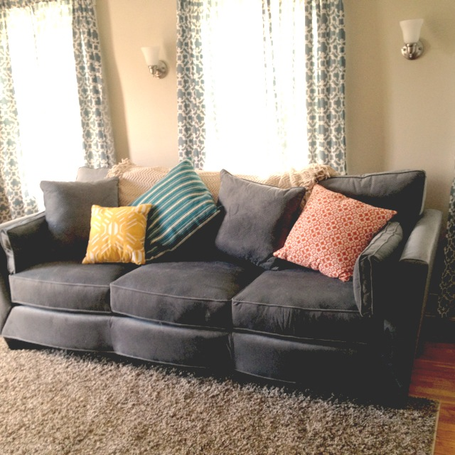 We Love Our Big, Gray Couch From Bernie U0026 Phyls! The Throw Is From  HomeGoods And The Pillows, Curtains, And Shag Rug Are From Target.