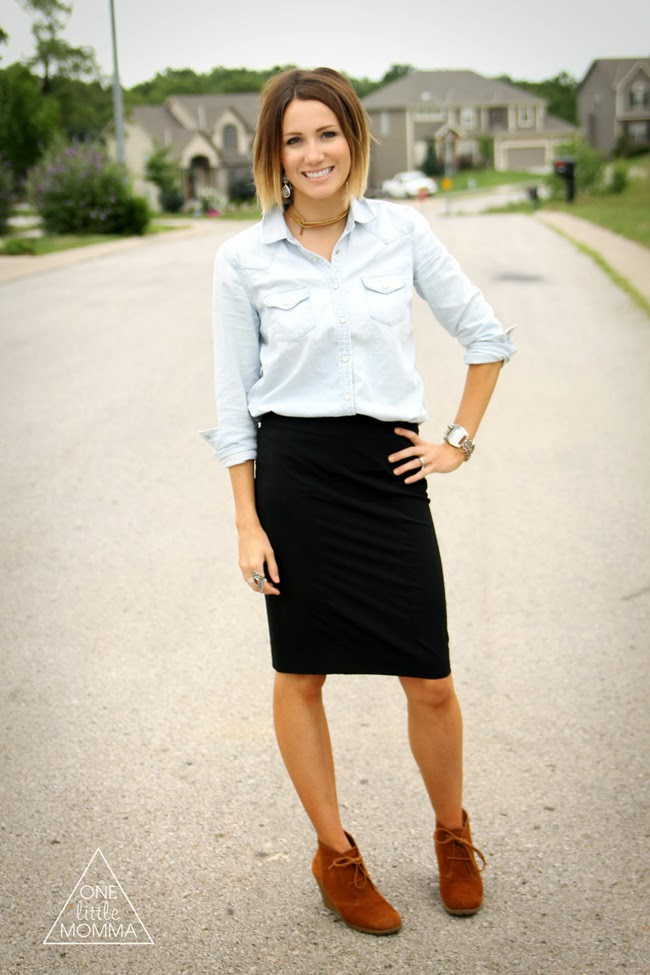 Denim shirt, black pencil skirt and ankle boots