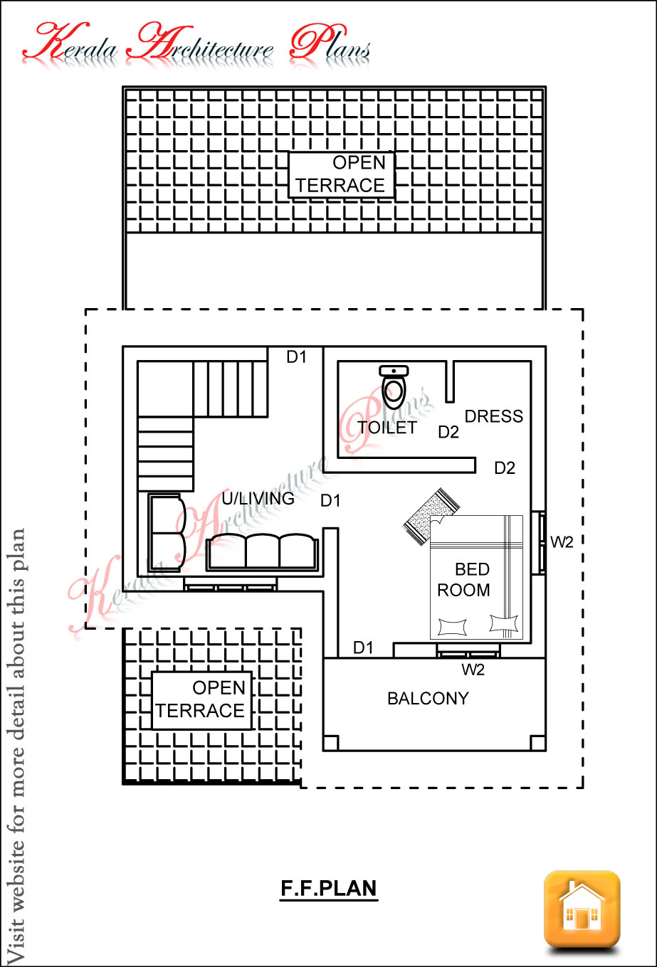 Bedroom house plan in 1200 square feet architecture kerala