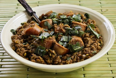 Recipe for Sausage and Lentils with Fried Sage (Gluten-Free) found on KalynsKitchen.com
