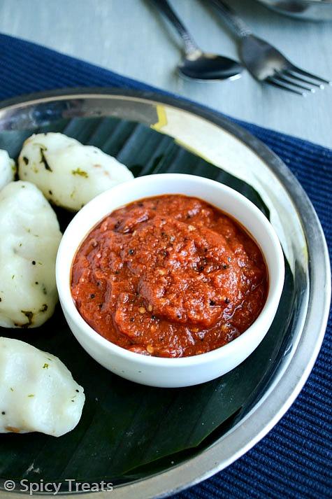 Spicy Treats: Chilly Tomato Chutney / Spicy Tomato Garlic Chutney