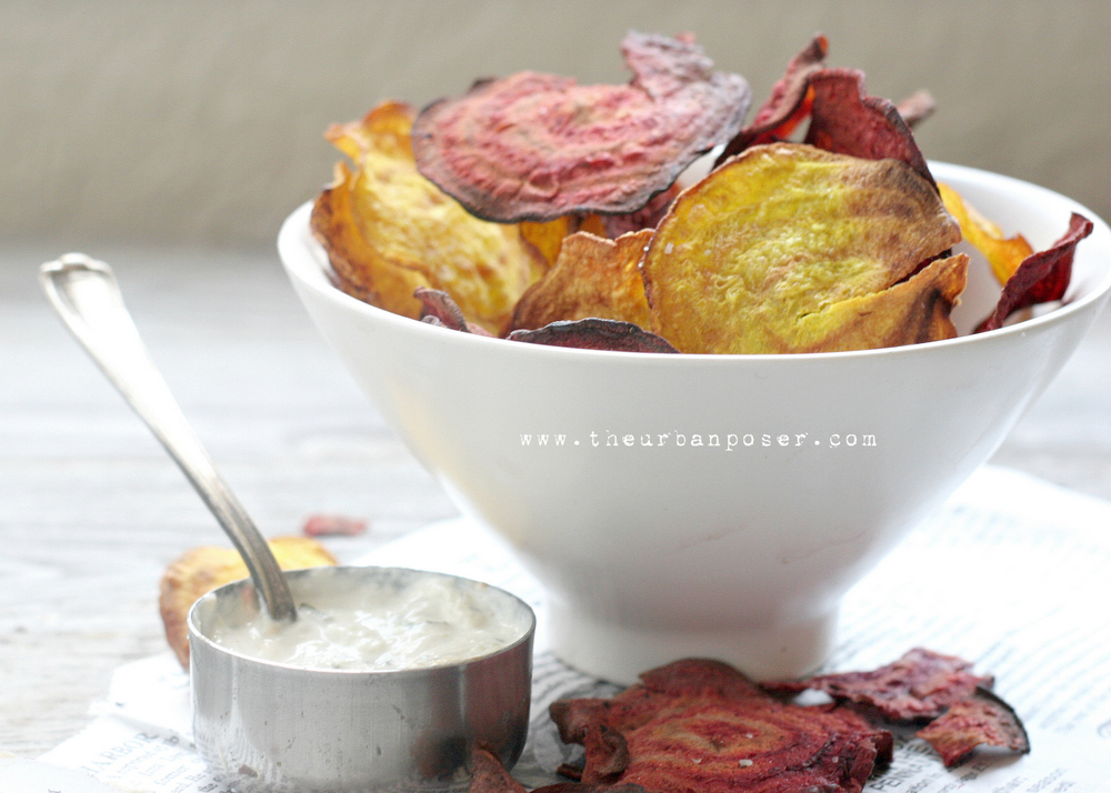 Beet Chips With Cashew Tzatziki (Baked or fried)