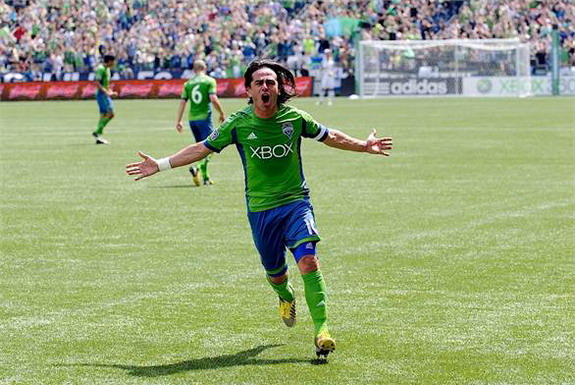 Seattle Sounders player Mauro Rosales celebrates after scoring against San Jose Earthquakes