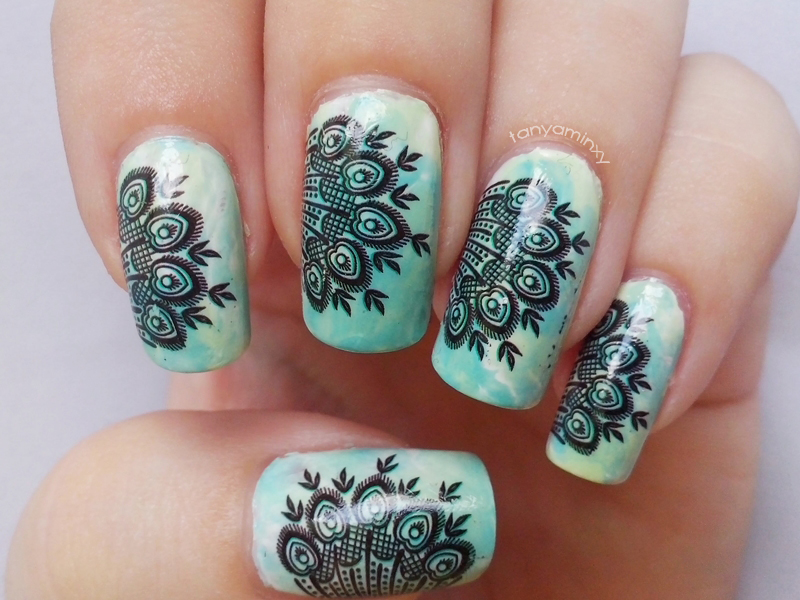 Mint Peacock Feathers Nails Born Pretty Store Decals
