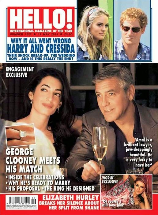 Elizabeth Hurley in May 2014 Issue of Hello Magazine With George Clooney