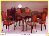 Kursi dan Meja Makan Ukiran Kayu Jati Itali Mahkota