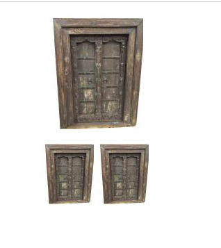antique iron wooden cladded window
