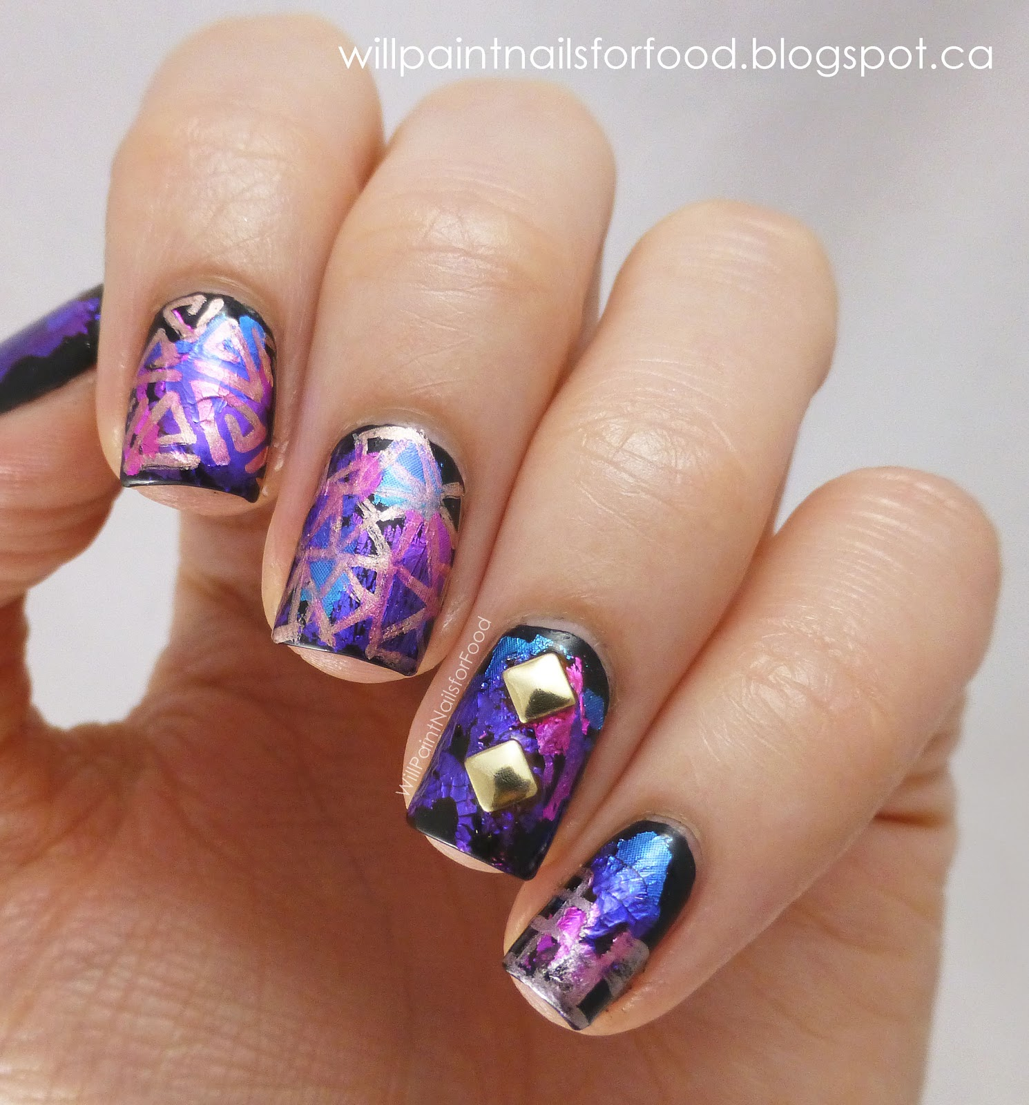 Will paint nails for food seven deadly sins challenge day 6 greed and a born pretty store - Foil nail art ...