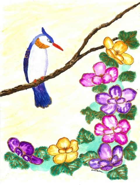 Bird and Flowers Watercolor Painting
