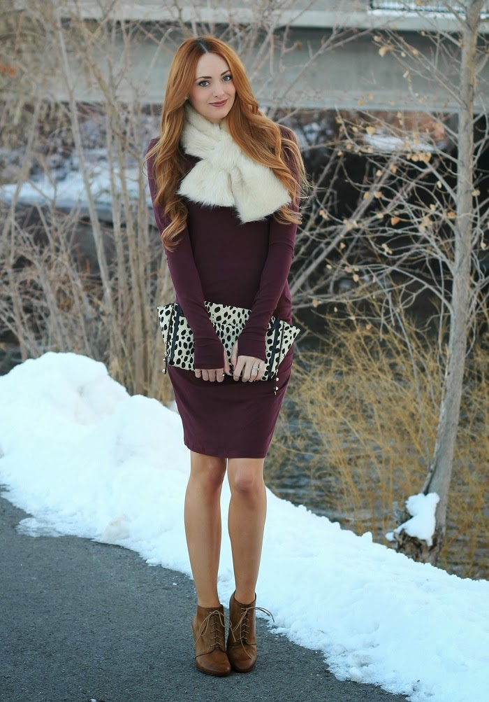 Cranberry Dress & Faux Fur