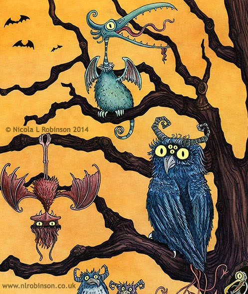 Tree of monster birds illustration - © Nicola L Robinson 2014 www.nlrobinson.co.uk