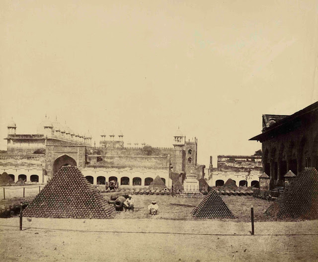 The Arsenal and the Pearl Mosque. Agra 1858