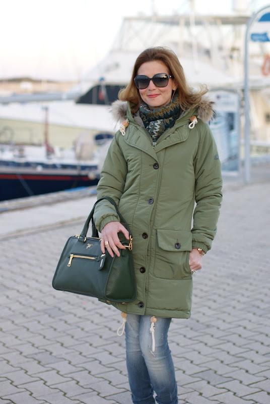 Parka jacket, Campo V Parka, Prada bag