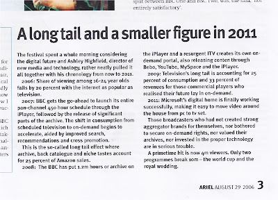 clipping from 2006 Ariel magazine showing article about Ashley Highfield's digital predictions