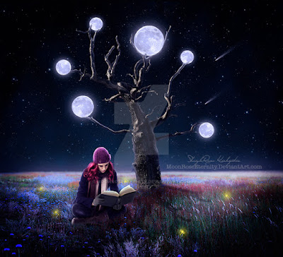 A girl reading a book by the light of moons.