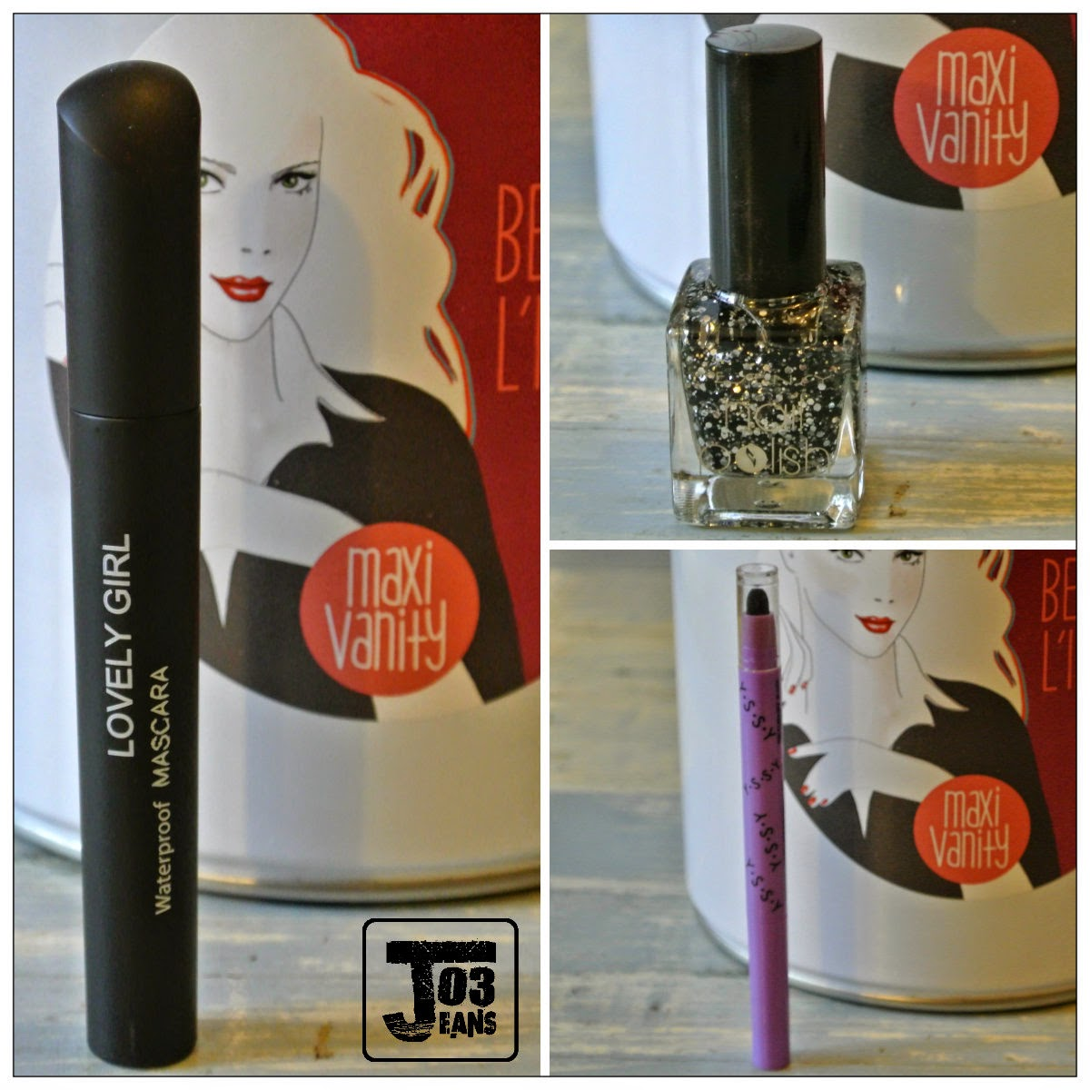 mascara waterproff lovely girls, vernis top coat paillettes yesensy, crayon issy,