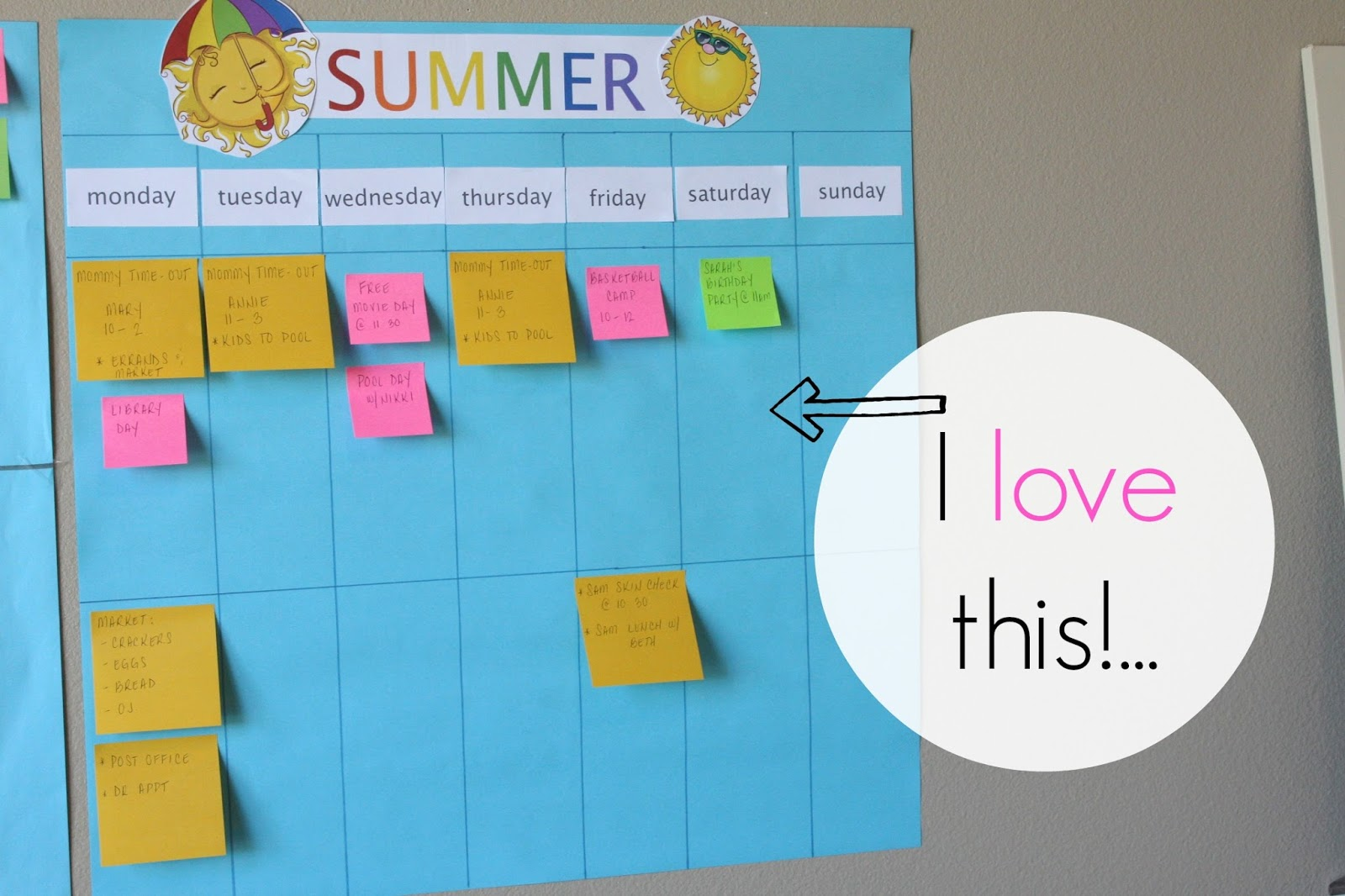 Simple Summer Calendar Using PostIt Notes Simply Organized - Post it note calendar template