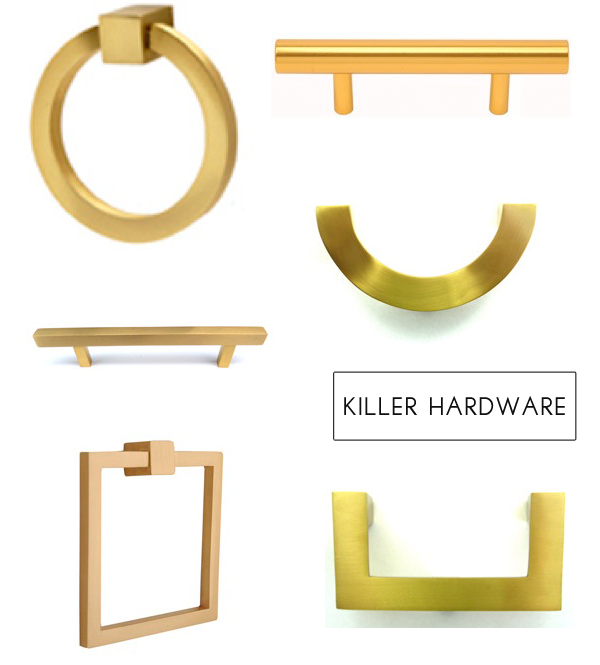 Lucite And Gold Drawer Pulls