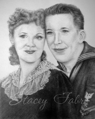 Engagement photo from 1947 Recreated as an Hierloom Portrait Drawing